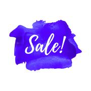 Sale logo, card, poster, text, written on painted violet background. Stock Illustration