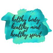 Healthy Body Helthy Mind Healthy Spirit quote, words, logo, card, poster, tex - stock illustration