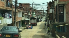 Residential street in the slums of Medellin, Colombia Stock Footage