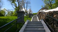 Peterhof.Fountain Chess mountain.Slow motion.Saint Petersburg Stock Footage