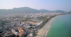 Patong Bay And Beach In Phuket Ascending Aerial Drone Footage Stock Footage