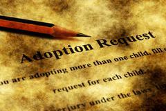 Adoption request grunge concept Stock Photos
