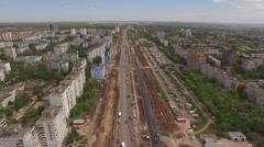 Aerial static viewof building main road of Samara city Stock Footage