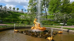 Peterhof.Fountain Triton and the beast.Slow motion.Saint Petersburg Stock Footage