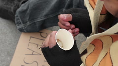Life of poor and homeless, male counting money on the street, destitution Stock Footage