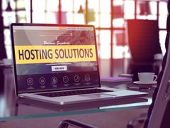 Laptop Screen with Hosting Solutions Concept Stock Illustration