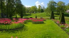 Peterhof.View of the park.Slow motion.Saint Petersburg Stock Footage