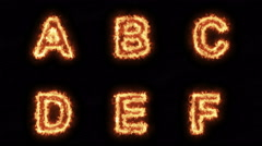 Burning Letters A B C D E F , Letters on Fire Six in One Pack  , Ultra HD 4K Stock Footage