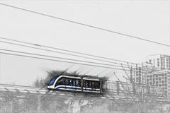 Elevated rapid transit system Stock Illustration