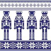 Nutrckrackers seamless Christmas, winter navy pattern Stock Illustration