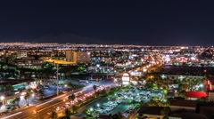 Las Vegas Night Time Lapse with Zoom Out of Flamingo Road East of the Strip Stock Footage