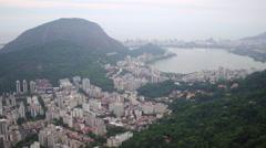 Aerial south zone neighbourhood and lake Rodrigo de Freitas Rio de Janeiro Stock Footage