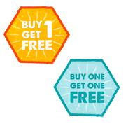 Buy one get one free in grunge flat design hexagons labels Stock Illustration