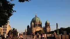 Group of mature travelers at Berlin Cathedral (Berliner Dom) - stock footage
