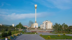 The monument with the coat of arms of Tajikistan in Dushanbe Stock Footage