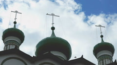 Orthodox monastery on the background of clouds Stock Footage