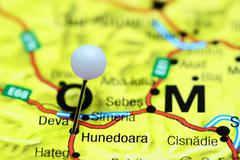 Hunedoara pinned on a map of Romania - stock photo