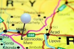 Sannicolau Mare pinned on a map of Romania - stock photo