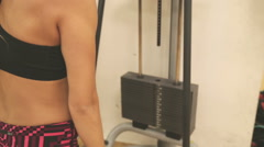 Pulley Exercise instrument at the gym - stock footage