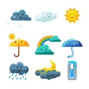 Weather Forecast Elements Set Stock Illustration