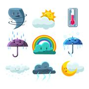 Weather Forecast Pictures Set - stock illustration