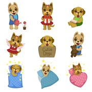 Cute Dog Cartoon Collection - stock illustration