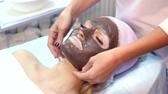 Chocolate Mask Facial Spa. Stock Footage