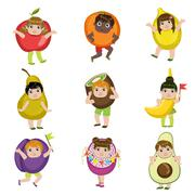 Kids Dressed As Fruits - stock illustration