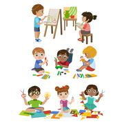 Kids Learning Craft - stock illustration