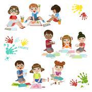Kids Creativity Practice - stock illustration