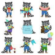 Cute Boy Raccoon Cartoon Set - stock illustration