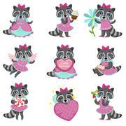 Cute Girl Raccoon Cartoon Set Piirros