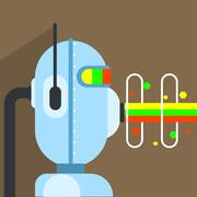 Robot Character With Beam Of Energy Coming Out Mouth Stock Illustration