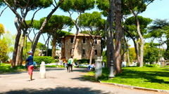 People enjoying a park in Rome Stock Footage