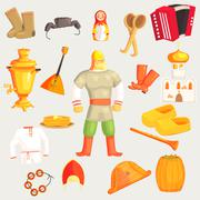 Classic Russian Culture Symbols Set - stock illustration