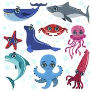Marine Animals Set - stock illustration