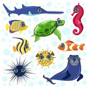 Sea Animals Set Stock Illustration