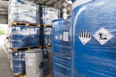 Environmental hazard barrels Stock Photos