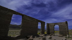 Astro Time Lapse of Ashford Mill Ruin in Moonlight in Death Valley -Pan Right- Stock Footage