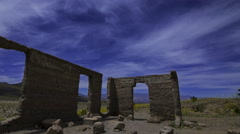 Astro Time Lapse of Ashford Mill Ruin in Moonlight in Death Valley -Pan Left- Stock Footage