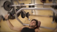 Train with weights on bench Stock Footage