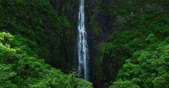 Aerial view of amazing waterfall in tropical rain forest jungle Stock Footage