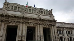 Milano Centrale Railway Station entrance in Milan, Italy. Stock Footage