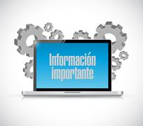 Important information computer Spanish sign Stock Illustration