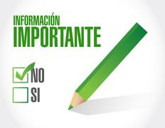 no important information approval Spanish sign - stock illustration