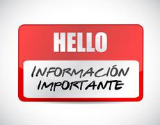 important information name tag Spanish sign - stock illustration