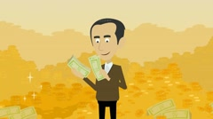 Mountains of gold and a man counting money Stock Footage
