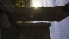 3axis MoCo Astro Time Lapse of Ashford Mill Ruin at Moonset in Death Valley -Ver Stock Footage