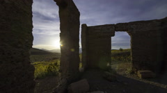 3axis MoCo Astro Time Lapse of Ashford Mill Ruin at Moonset in Death Valley  Stock Footage