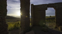 3axis MoCo Astro Time Lapse of Ashford Mill Ruin at Moonset in Death Valley Long Stock Footage